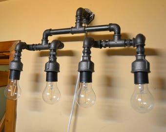 Wall pipe lamp,Industrial Vanity Light, Bathroom Light, Steampunk Light, Wall Sconce, Wall Light, Edison Bulbs, Pipe Light