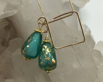 Green Aqua White Gold Satin Teardrops and 14k Gold Filled Square Hoops   Hand Shaped Earrings    Czech Glass Earrings  Boho Jewelry