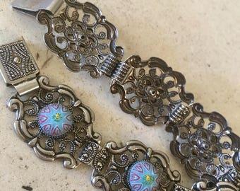Vintage Filigree Blue Stones with Enamel Bracelet.  8 1/4 Inches Long.