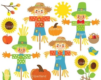 ON SALE INSTANT Download. Scarecrow clip art. Cscar_1.  Personal and commercial use.