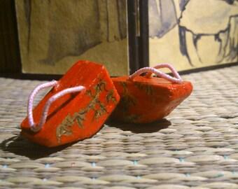 Pair of miniature dollhouse geisha shoes, pokkuri shoes. Bamboo forest