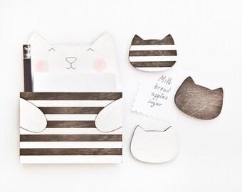 Black Cat Magnets, Striped Fridge Magnet, Striped Cat, Black Kitchen Decor, Kitchen Organization, Cute Grandma Gift, Cat Lover Gift