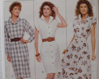 Easy Slim Fitting or Flared Button Front Shirtdress Sewing Pattern - Family Circle Butterick 6083 - Sizes 12-14-16, Bust 34-36-38, Uncut
