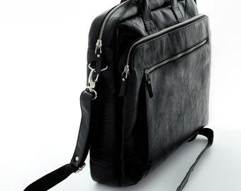 Leather briefcase 14 inch laptop bag Mens briefcase Cross body bag Laptop bag Leather messenger bag Leather satchel Organizer bag