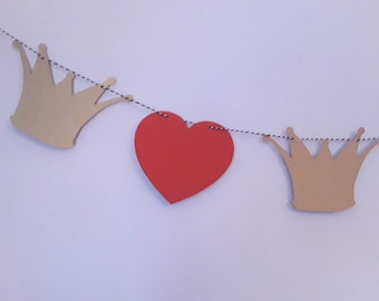 Queen of Hearts Crown and Red Hearts Garland