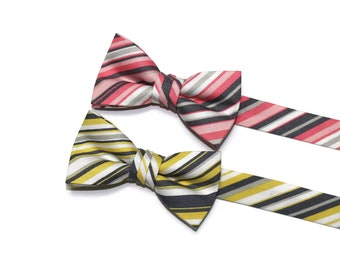 Boys Bow Tie~Boys Bow Tie~Boys Stripe Bow Ties~Cotton Bow Tie~Church Tie~ Wedding~Ring Bearer~Preppy Bow Tie~Yellow and Gray~Pink and Gray