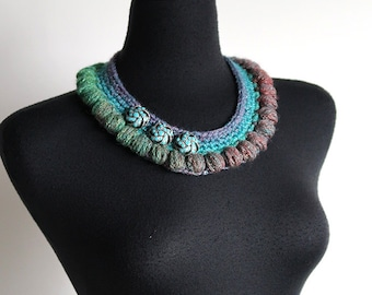 Turquoise Blue Emerald Green Light Denim Color Statement Fiber Crochet Collar Necklace with Metal Pendants