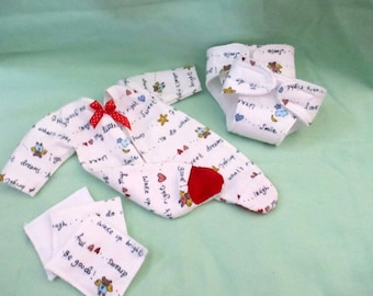"Doll Clothes 12-13"" Baby Dolls Sleeper/Diaper/Wipes Set SOFT Flannel Fleece 6 pc."