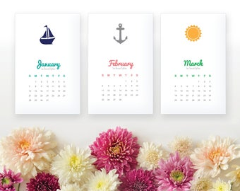 2018 Printable Monthly Calendar - Nautical Wall Calendar, Desk Calendar - Home Organizing - 2018 Instant Download Calendar