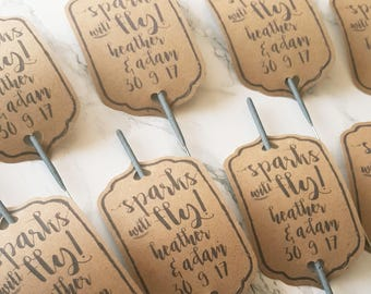 20 x Sparks will fly sparkler tags sleeves - wedding send off favours - kraft, gold foiled