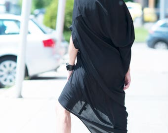 Black Plus size Maxi Dress, Summer Elegant Cotton Loose Dress by EUG fashion - DR0205CV