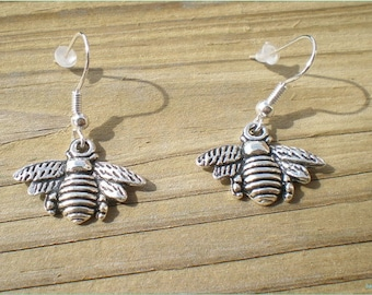 Silver Bee Earrings, Insect Earrings, Nature Earrings, Jewelry Findings