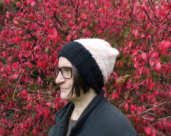Two color hand knit wool blend hat