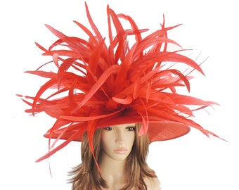 Red Large Collared Dove Hat for Kentucky Derby, Weddings (40 colours available)