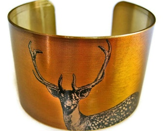 STAG DEER cuff bracelet brass Gifts for her