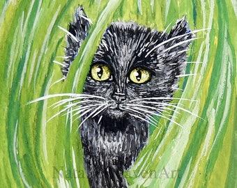Black Cat Print, Black Cat Art, Black Cat Wall Art, Black Cat Picture, Picture of Black Cat, 6x4 Cat Print, Black Cat Gift, Cat Lover Gift