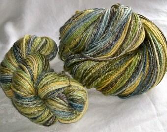 2 Knäuel 8,1 g 500 yds SW Merino 80/20 Frühling bis Herbst grün-Mix-Garn handgefärbt HSY32 handgesponnen.