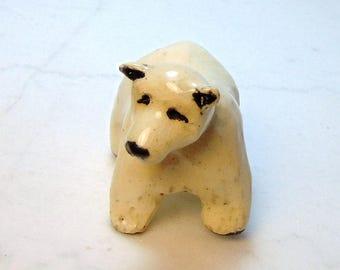 Polar Bear Sculpture - Bear Ceramic Figurinel - Pottery Animal - Clay Polar Bear - Fairy Garden Bear