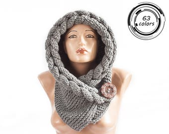 Hooded Scarf, Christmas Gift, Scarf, Hood, scarf hooded, Chunky scarf by LoveKnittings