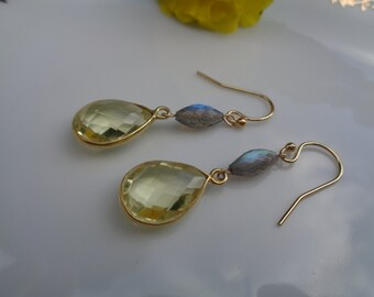 Gold Earrings with Labradorite and lemon Topaz