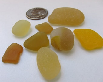 Yellow Seaglass - 8 Pieces