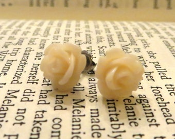 Tiny Cream Rose earrings, silver jewelry, floral jewelry, minimalist