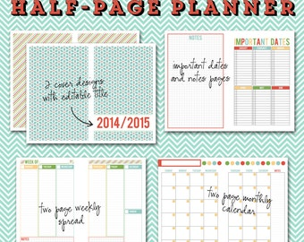 Undated Half-Page Printable Planner - 5 1/2 x 8 1/2 Instant Download