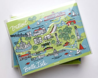 Set of 8 Belle Isle Notecards. 4.25 x 5.5 - A2, Detroit Map, Cards, Belle Isle Map, Greeting Cards. Pack of Notecards, Map Cards