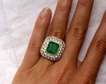 Emerald Cut Green Emerald and Pave Diamond Filigree Ring