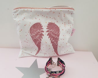 Jewelry pouch, makeup... Pink/White Angel Wings