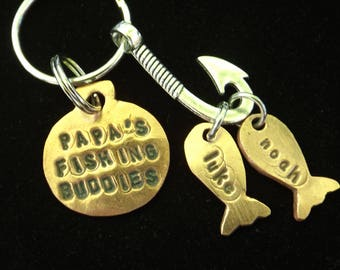 Papa's Fishing Buddies Keychain, Kids Names Grandpa Keychain, Father's Day gift idea, Keychain for Papa, Personalized gift for Grandpa