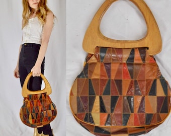 1970s Leather Patchwork Wood Handle Purse