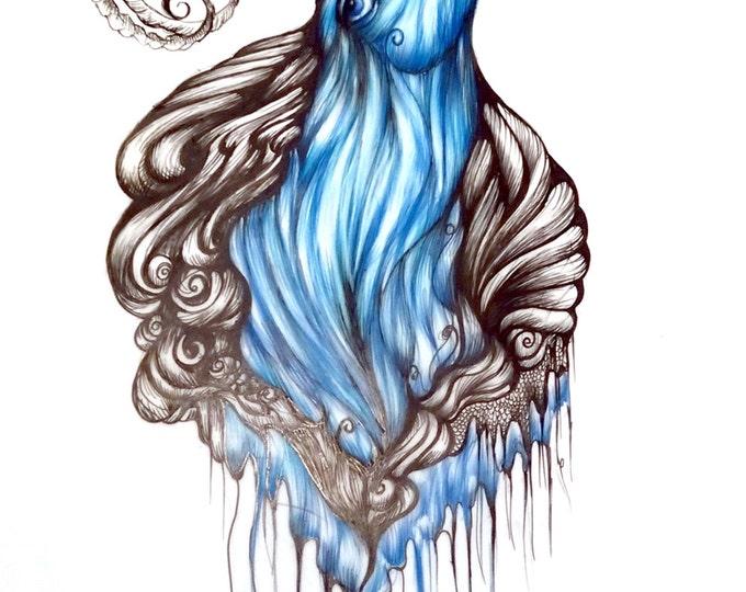 "Blue Ram- 17"" H x 14"" W original drawing"