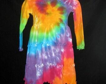 Au cours de l'arc en ciel Tye Dye à volants robe taille 8