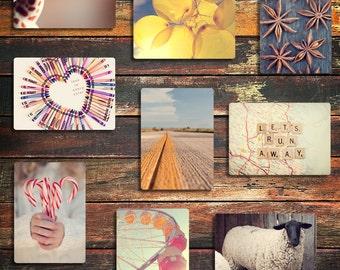 set of nine photo magnets / kitchen decor, fine art photography, nature photography, stocking stuffer, customize your set