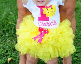 You are my sunshine outfit,first birthday outfit girl,Sparkly Sunshine birthday,cake smash girl,personalized birthday dress,one year old