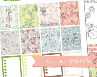 VINTAGE PLANNER STICKERS, Spring Planner Kit, Floral planner set, ec inspired planner stickers, pdf Stickers, Printable Planner Stickers
