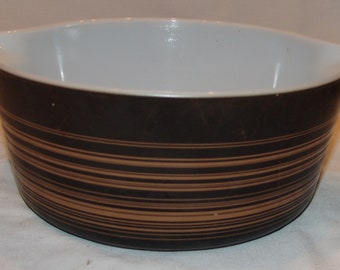 Vtg Pyrex Brown Striped 2 1/2 Qt Casserole Bowl Terra Pattern Corning Glass
