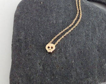 Dainty Necklace, Tiny Gold Skull, Delicate Fine Chain, Simple Necklace, Contemporary Jewellery