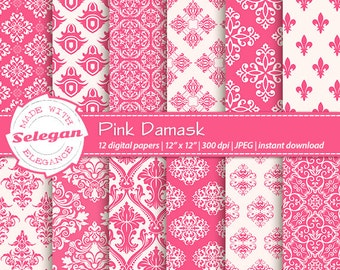 Pink Damask, Digital Paper, Scrapbooking, Paper, 12x12, Printable, European, Royal, Pattern, Damask, Texture, Pink, White, Background