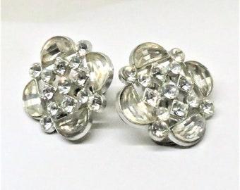 Rhinestone Button Earrings - Vintage, Unique, Silver Tone Metal, Clear Rhinestones, Detachable Clip on