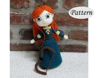 MERIDA - Amigurumi Pattern Crochet Doll Pattern Amigurumi Princess Pattern - Tutorial - PDF - Plush Doll Girl