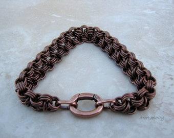 Large Rugged Copper Men's Bracelet, Men's Chain Bracelet, Copper Chainmail Bracelet, Chunky Copper Bracelet, Antique Copper Bracelet, Arret