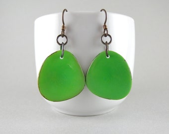 Leaf Green Tagua Nut Eco Friendly Yoga Accessories Earrings with Free USA Shipping #taguanut #ecofriendlyjewelry