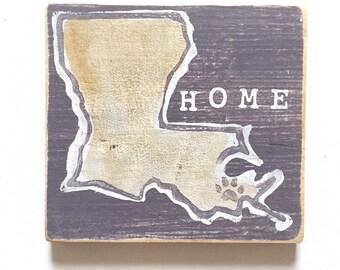 Louisiana Heart (LSU): Wood Sign, LSU Art, LSU Tigers, Baton Rouge Gift, Dorm Art, Home Art, Southern Art