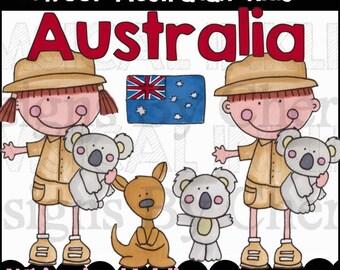 Sweet Australian Kids Clipart Collection- Immediate Download