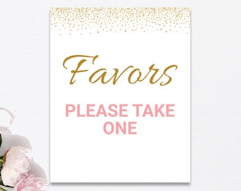 Favors Please Take One Sign Printable, Pink Gold Confetti Sprinkles, Bridal Shower Favors Table Sign, Baby Shower Favors Sign, Instant PDF