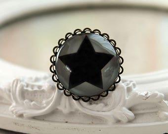 Black star ring  feminine stylish night planet astronomy science large