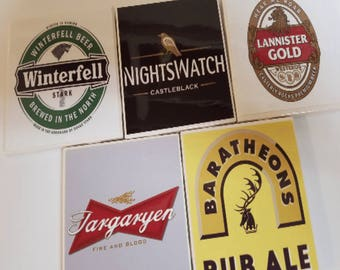 Game of Thrones Coasters, Lannister, Winterfell, Baratheon, Targaryen, and Nightswatch, Gifts for Husband, Gifts for Dad, Gifts for Him