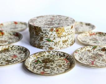 Vintage Mid Century Modern Coasters w/ Box~ Regisitered Celebrate Japan ~ Retro Lacquered  Paper Mache ~ Birds & Floral Design